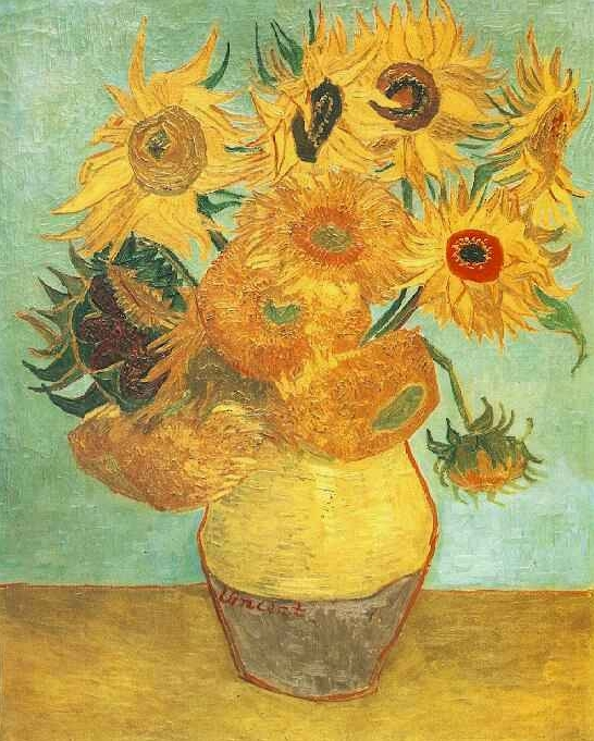 Натюрморт - ваза с двенадцатью подсолнухами :: Ван Гог, описание картины - Van Gogh фото