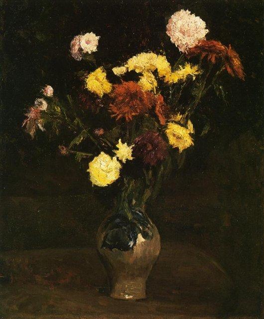 Корзина с гвоздиками и цинниями [ картина - цветы ] :: Ван Гог, описание картины - Van Gogh фото