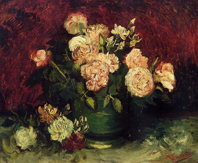 Ваза с пионами и розами [ картина - цветы ] :: Ван Гог, описание картины - Van Gogh (Ван Гог) фото