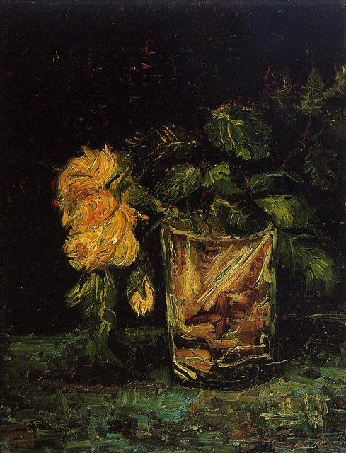 Роза в стакане [ картина - цветы ] :: Ван Гог, описание картины - Van Gogh (Ван Гог) фото