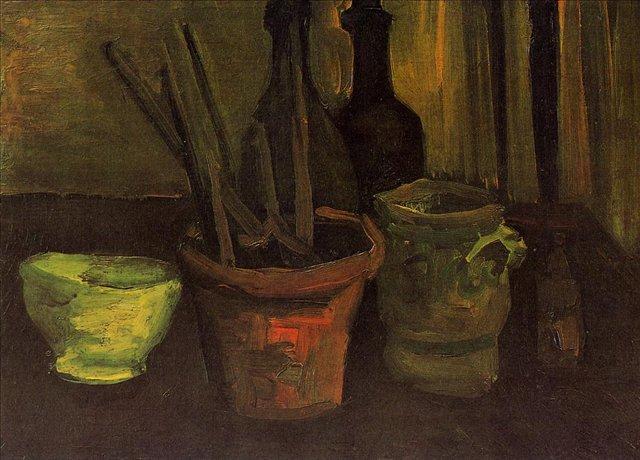 Натюрморт с кистями в цветочном горшке [ картина - цветы ] :: Ван Гог, описание картины - Van Gogh (Ван Гог) фото