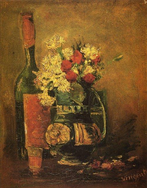 Ваза с гвоздиками и бутылка [ картина - цветы ] :: Ван Гог, описание картины - Van Gogh фото