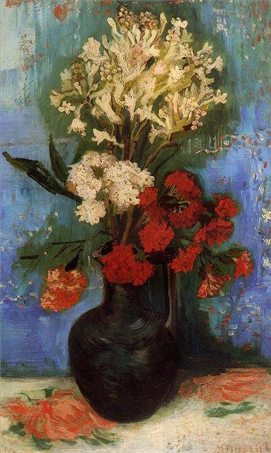 Ваза с гвоздиками и другими цветами [ картина - цветы ] :: Ван Гог, описание картины - Van Gogh фото