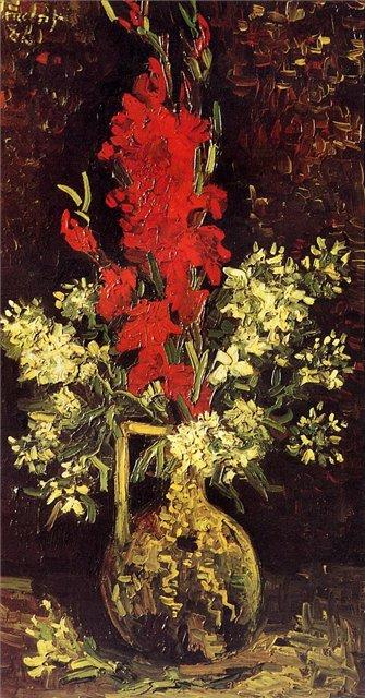 Ваза с гладиолусами и гвоздиками [ картина - цветы ] :: Ван Гог, описание картины - Van Gogh фото