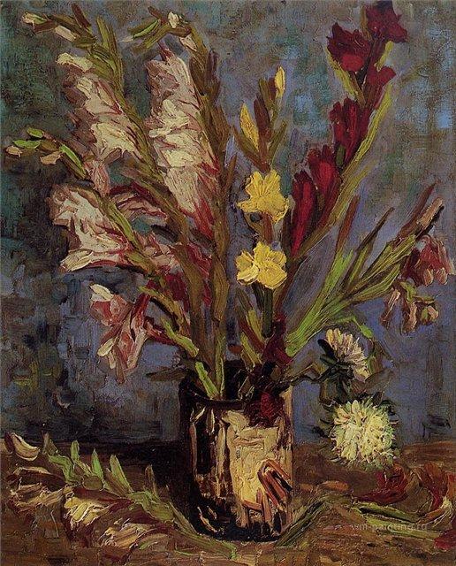 Ваза с гладиолусами [ картина - цветы ] :: Ван Гог, описание картины - Van Gogh (Ван Гог) фото