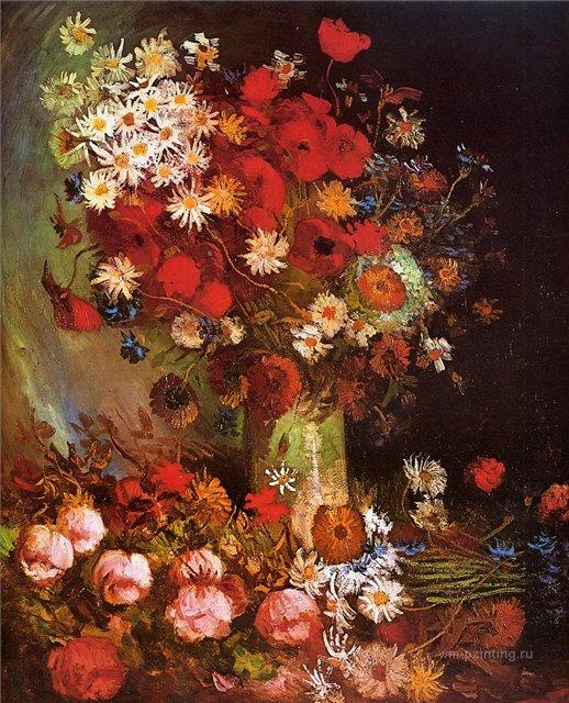 Ваза с маками, васильками, пионами и хризантемами [ картина - цветы ] :: Ван Гог, описание картины - Van Gogh фото