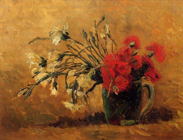 Ваза с красными и белыми гвоздиками на жёлтом фоне [ картина - цветы ] :: Ван Гог, описание картины - Van Gogh фото