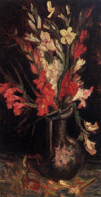 Ваза с красными гладиолусами [ картина - цветы ] :: Ван Гог, описание картины - Van Gogh фото