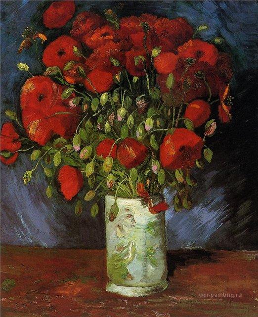натюрморт Ваза с красными маками :: Ван Гог, описание картины - Van Gogh фото