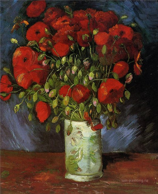 Ваза с красными маками [ картина - цветы ] :: Ван Гог, описание картины - Van Gogh (Ван Гог) фото