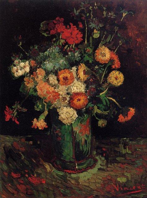 Ваза с цинниями и геранью [ картина - цветы ] :: Ван Гог, описание картины - Van Gogh фото