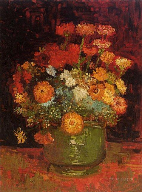 Ваза с цинниями [ картина - цветы ] :: Ван Гог, описание картины - Van Gogh фото