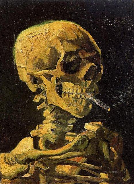 натюрморт Череп с зажжённой сигаретой :: Ван Гог, описание картины - Van Gogh фото
