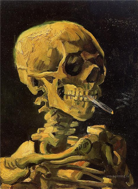 Череп с зажжённой сигаретой [ картина - натюрморт ] :: Ван Гог, описание картины - Van Gogh (Ван Гог) фото
