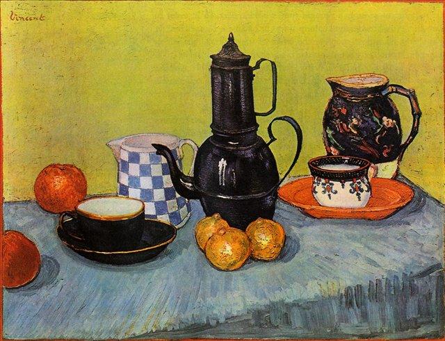 Натюрморт - синий эмалерованный кофейник и фрукты :: Ван Гог, описание картины - Van Gogh фото