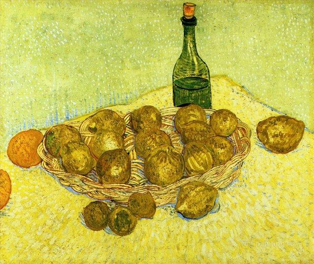 Натюрморт с бутылкой, лимонами и апельсинами [ картина - натюрморт ] :: Ван Гог, описание картины - Van Gogh фото