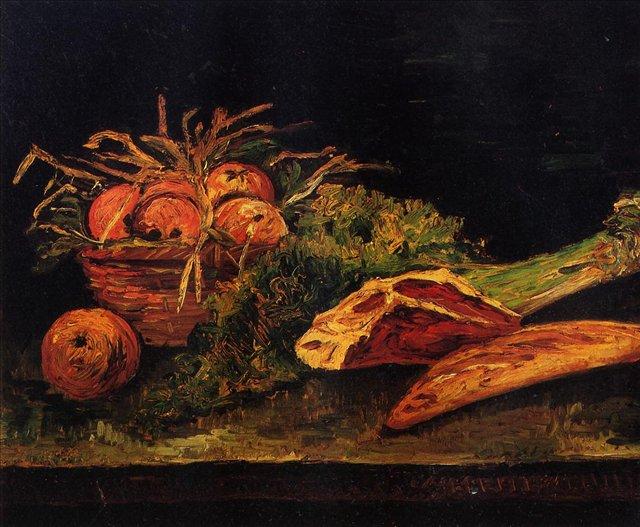 Натюрморт с яблоками, мясом и рулоном [ картина - натюрморт ] :: Ван Гог, описание картины - Van Gogh фото