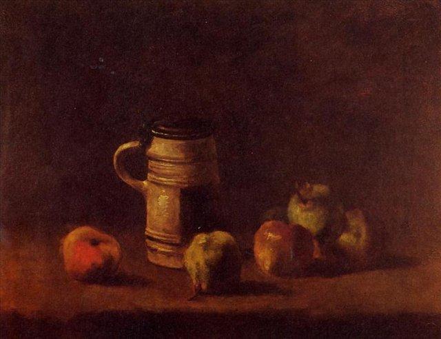Натюрморт с кружкой пива и фруктами [ картина - натюрморт ] :: Ван Гог, описание картины - Van Gogh фото