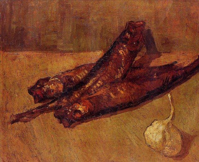 Натюрморт с копчёной рыбой и чесноком [ картина - натюрморт ] :: Ван Гог, описание картины - Van Gogh (Ван Гог) фото