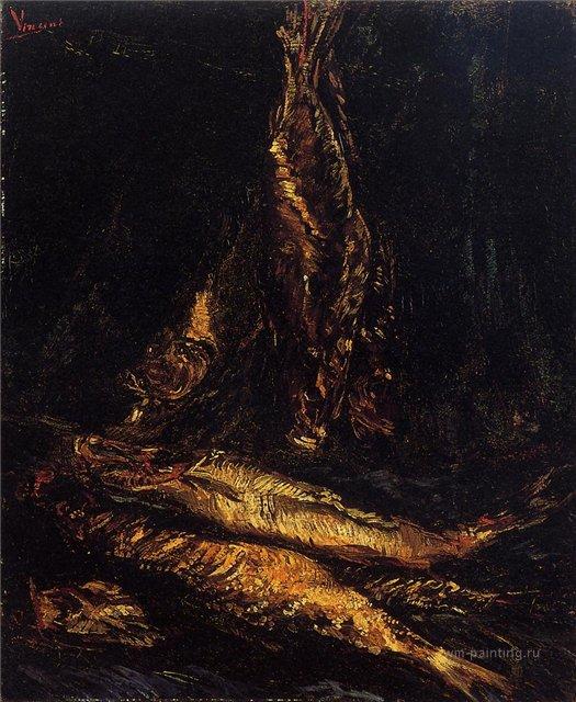 Натюрморт с копчёной рыбой [ картина - натюрморт ] :: Ван Гог, описание картины - Van Gogh фото