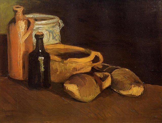 Натюрморт с сабо и горшками :: Ван Гог, описание картины - Van Gogh фото