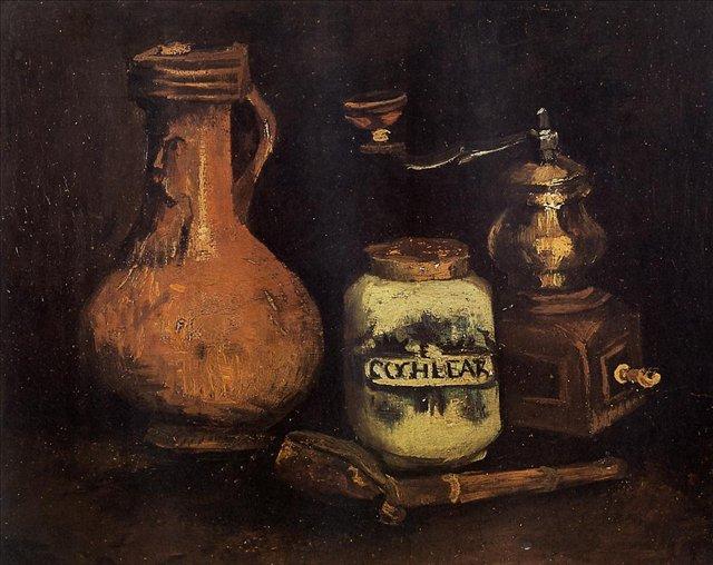 Натюрморт с кофемолкой, трубкой и кувшином[ картина - натюрморт ] :: Ван Гог, описание картины - Van Gogh фото