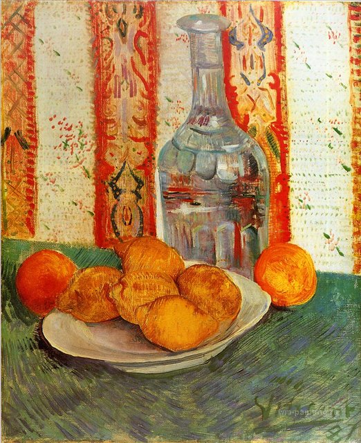 Натюрморт с графином и лимонами на тарелке[ картина - натюрморт ] :: Ван Гог, описание картины - Van Gogh фото