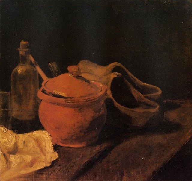 Натюрморт с глиняным горшком, бутылкой и сабо[ картина - натюрморт ] :: Ван Гог, описание картины - Van Gogh фото