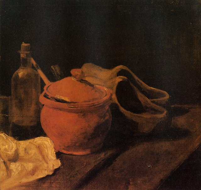 Натюрморт с глиняным горшком, бутылкой и сабо[ картина - натюрморт ] :: Ван Гог, описание картины - Van Gogh (Ван Гог) фото