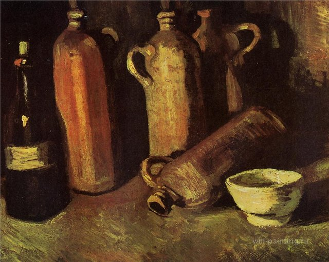 Натюрморт с четырьмя бутылками, флягой и белой чашкой [ картина - натюрморт ] :: Ван Гог, описание картины - Van Gogh фото