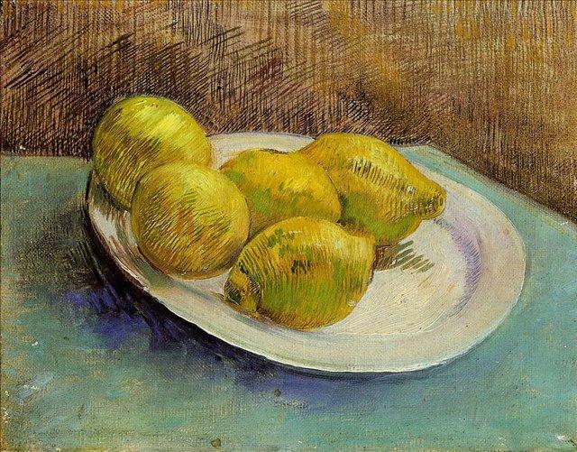 Натюрморт с тарелкой лимонов [ картина - натюрморт ] :: Ван Гог, описание картины - Van Gogh фото