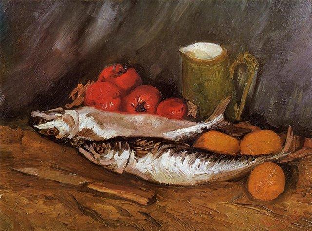 Натюрморт с макрелью, лимонами и помидорами [ картина - натюрморт ] :: Ван Гог, описание картины - Van Gogh фото