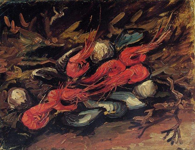 Натюрморт с мидиями и креветками [ картина - натюрморт ] :: Ван Гог, описание картины - Van Gogh (Ван Гог) фото