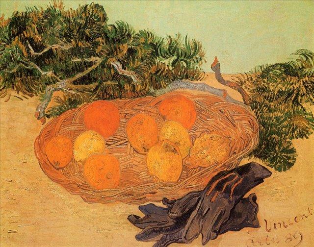 Натюрморт с апельсинами, лимонами и синими перчатками [ картина - натюрморт ] :: Ван Гог, описание картины - Van Gogh (Ван Гог) фото