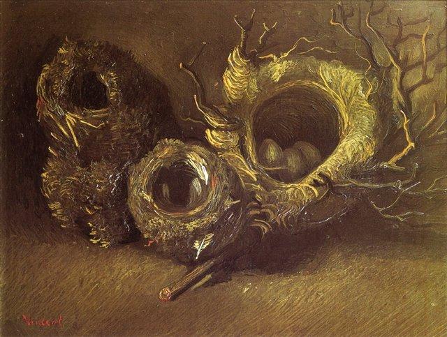 Натюрморт с тремя птичьими гнёздами [ картина - натюрморт ] :: Ван Гог, описание картины - Van Gogh фото