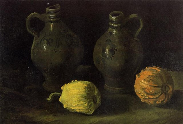 Натюрморт с двумя кувшинами и двумя тыквами:: Ван Гог, описание картины - Van Gogh фото