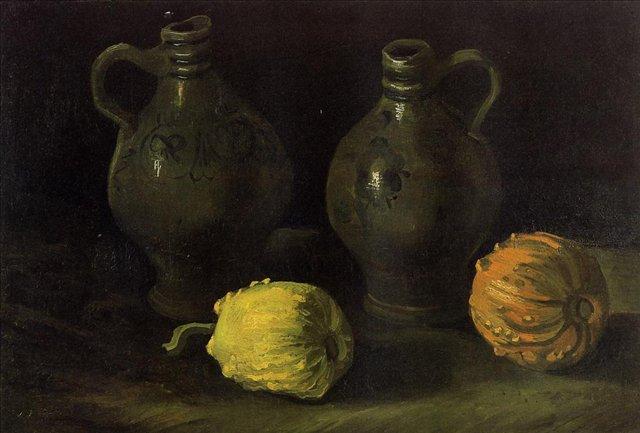 Натюрморт с двумя кувшинами и двумя тыквами [ картина - натюрморт ] :: Ван Гог, описание картины - Van Gogh фото