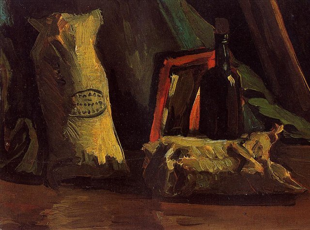 Натюрморт с двумя мешками и бутылкой [ картина - натюрморт ] :: Ван Гог, описание картины - Van Gogh фото