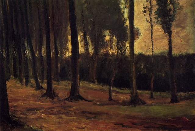 Край леса [ картина - ранний пейзаж ] :: Ван Гог, описание картины - Van Gogh фото