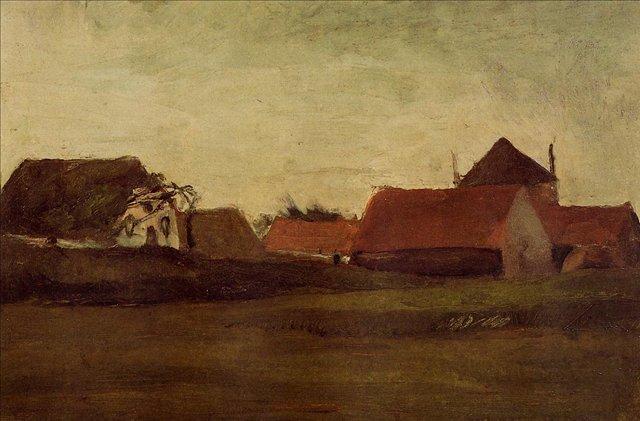 Фермы в Лосдинене, рядом с Гаагой[ картина - ранний пейзаж ] :: Ван Гог, описание картины - Van Gogh фото