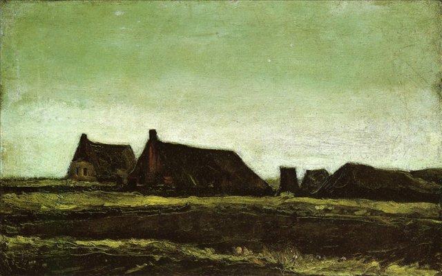 Фермы [ картина - ранний пейзаж ] :: Ван Гог, описание картины - Van Gogh фото