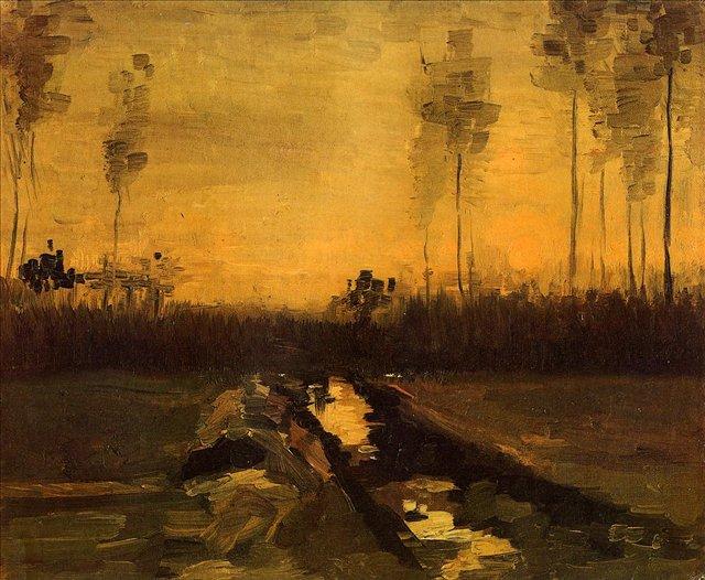 Пейзаж в сумерках [ картина - ранний пейзаж ] :: Ван Гог, описание картины - Van Gogh (Ван Гог) фото
