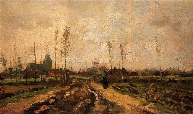 Пейзаж с церковью и фермами [ картина - ранний пейзаж ] :: Ван Гог, описание картины - Van Gogh фото