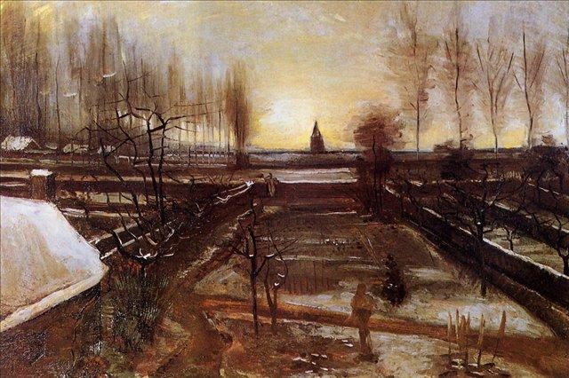 пейзаж Заснеженный приходской сад в Нуенене :: Ван Гог, описание картины - Van Gogh фото