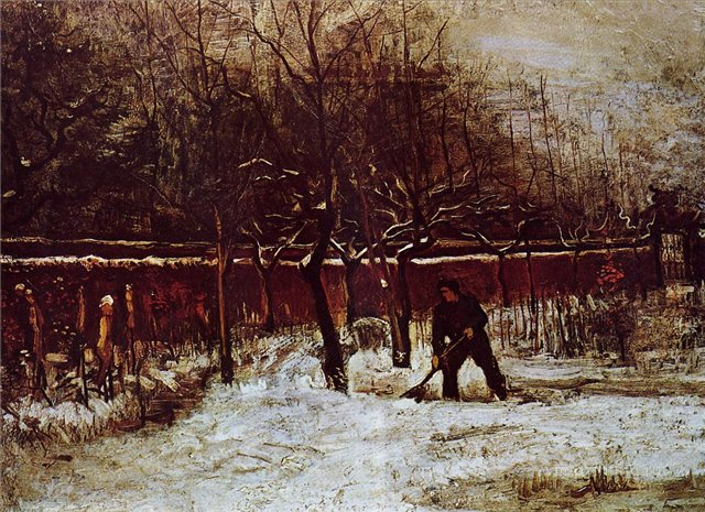 Заснеженный приходской сад в Нуенене [ картина - ранний пейзаж ] :: Ван Гог, описание картины - Van Gogh фото