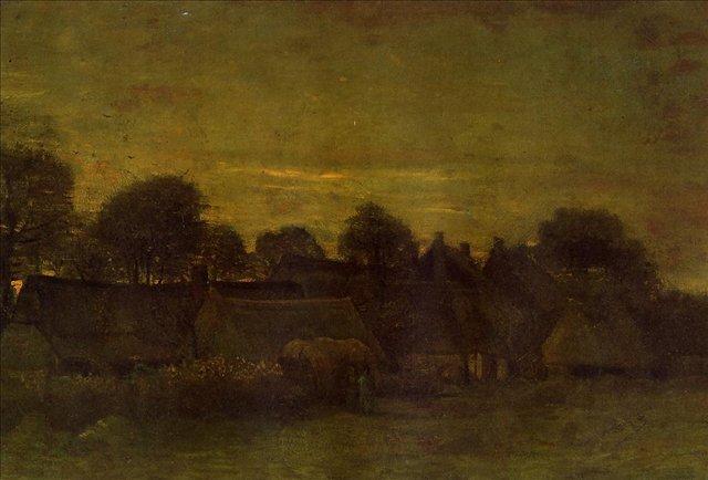 Деревня на закате [ картина - ранний пейзаж ] :: Ван Гог, описание картины - Van Gogh фото