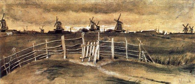 Ветряные мельницы в Дордрехте [ картина - ранний пейзаж ] :: Ван Гог, описание картины - Van Gogh фото