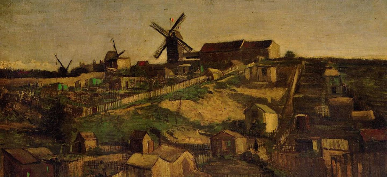 Монмартр - каменоломня и мельницы[ картина - мельница ] :: Ван Гог, описание картины - Van Gogh фото