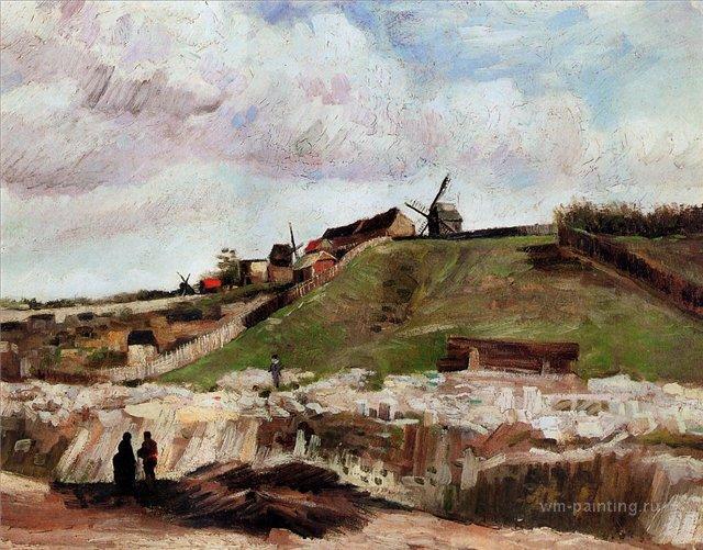 Монмартр - каменоломня и мельницы[ картина - мельница ] :: Ван Гог, описание картины - Van Gogh (Ван Гог) фото