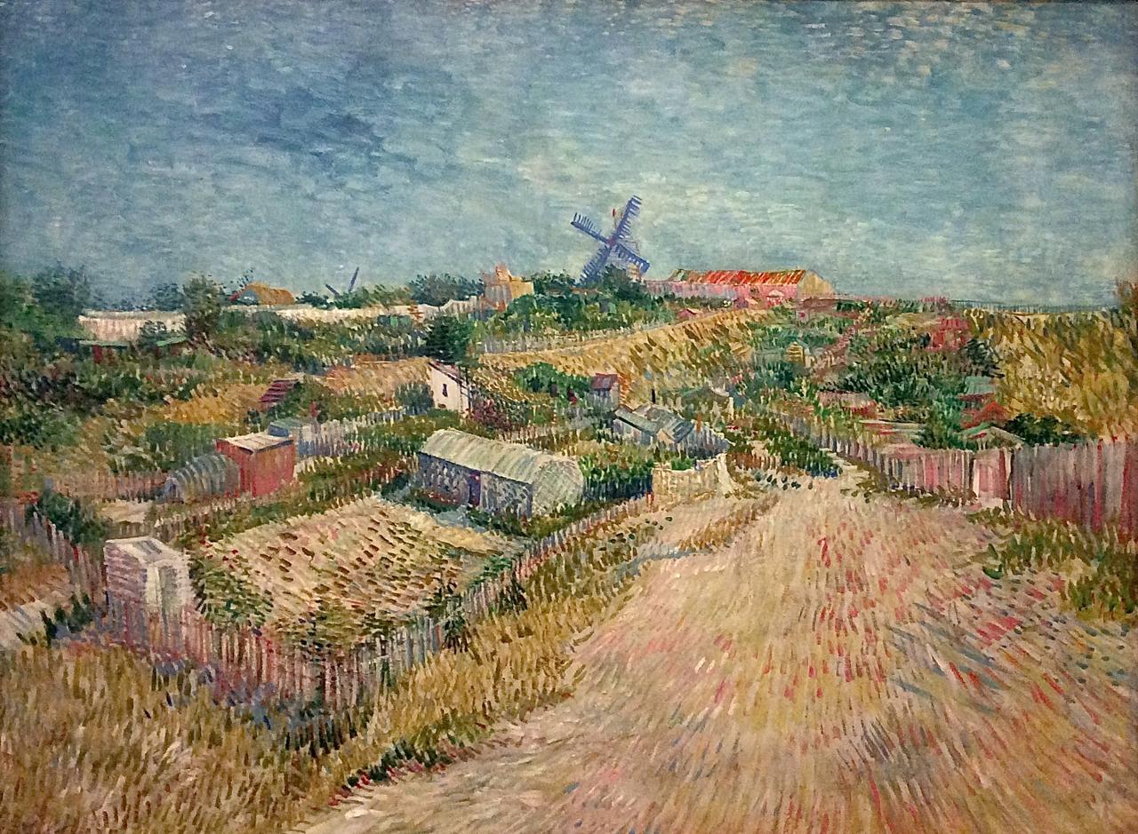 Огороды в Монмартре [ картина - мельница ] :: Ван Гог, описание картины - Van Gogh фото